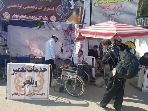 گزارش تصویری توانخواه ضایعه نخاعی که در مرز مهران به زائران اربعین خدمت می کند