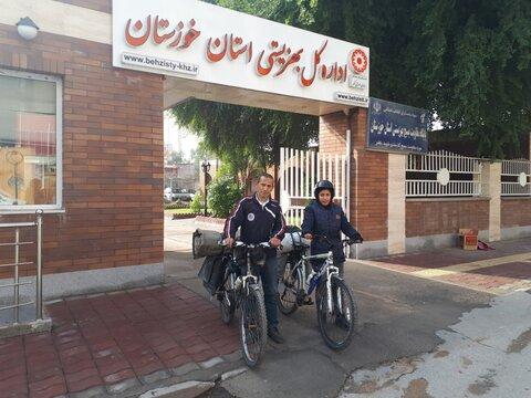 حضور دوچرخه سواران حامل پیام صلح و دوستی معلولین در بهزیستی خوزستان