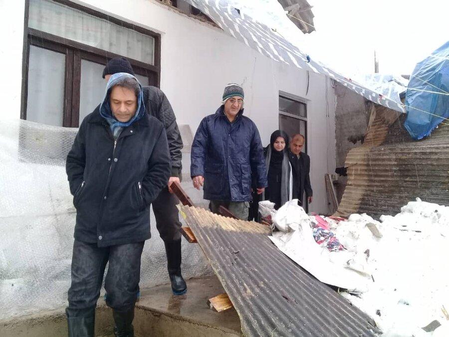 بازدید و امدادرسانی رییس دبیرخانه ستاد مدیریت بحران بهزیستی کشور از مناطق درگیر برف شهرستان صومعه سرا