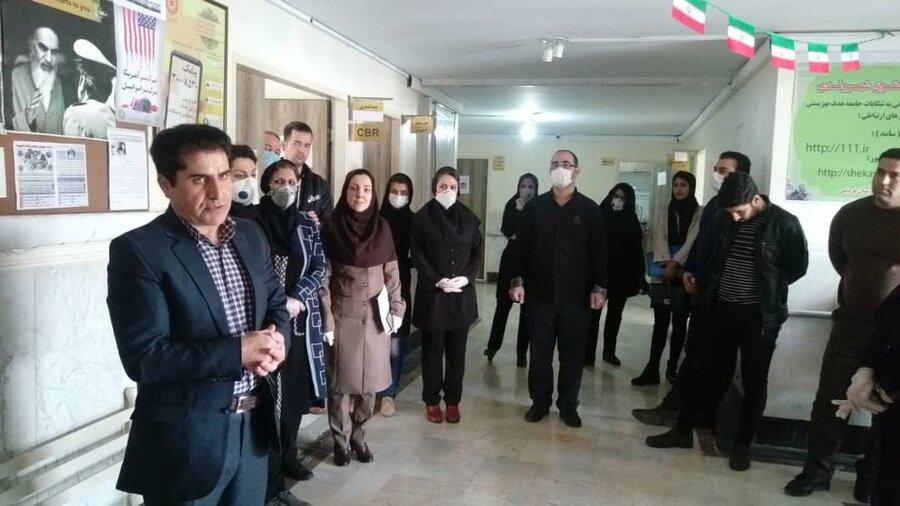 فردیس | برگزاری جلسه آموزشی پیشگیری از بیماری ویروسی کرونا ویژه پرسنل و مراجعه کنندگان به اداره بهزیستی فردیس