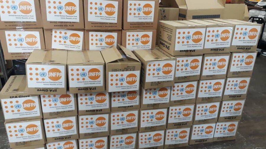 اقلام اهدایی صندوق جمعیت سازمان ملل متحد جهت پیشگیری از کرونا در مراکز سالمندان بهزیستی