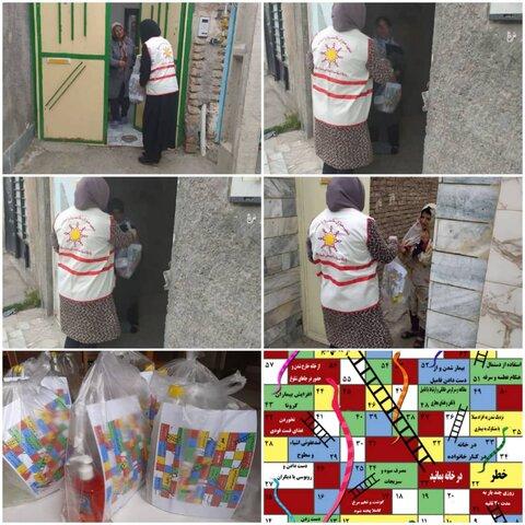 توزیع بسته های بهداشتی و بازی مارپله با طعم کرونا.....جهت سرگرمی و آگاهسازی عموم توسط همیاران بهزیستی شهرستان بیرجند