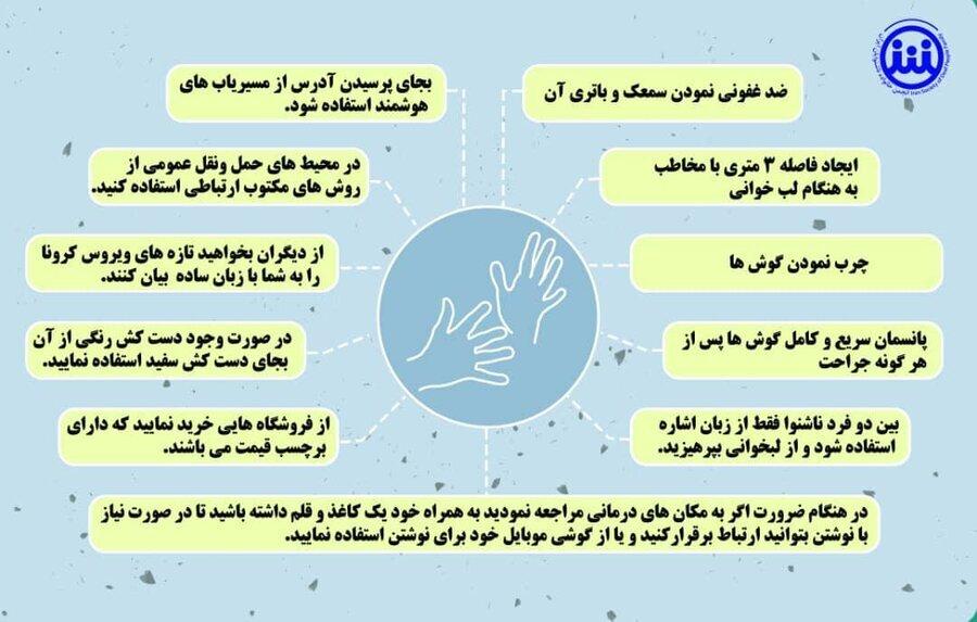 اینفوگرافیک   پیام های بهداشتی _ آموزشی ویژه افراد دارای معلولیت شنوایی جهت مقابله با کرونا ویروس
