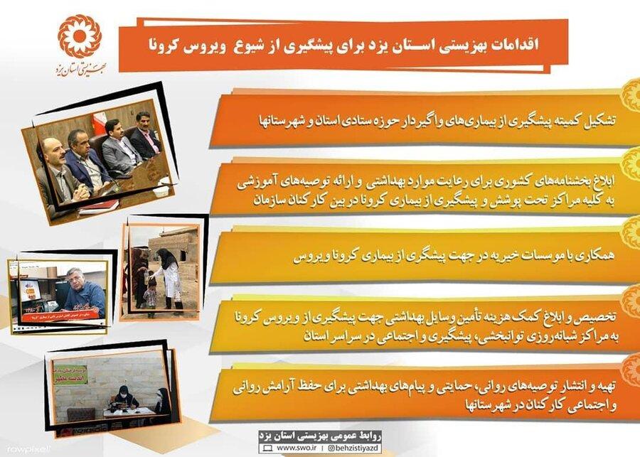 اقدامات بهزیستی استان یزد برای پیشگیری از شیوع ویروس کرونا