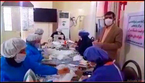 فیلم کارگاه تولید ماسک اداره بهزیستی مسجد سلیمان