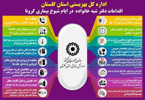 اقدامات دفتر امور شبه خانواده بهزیستی گلستان در ایام شیوع ویروس کرونا
