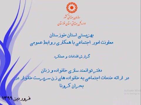 فتوکلیپ  اقدامات دفتر توانمند سازی زنان و خانواده بهزیستی خوزستان  در پیشگیری از شیوع ویروس کرونا