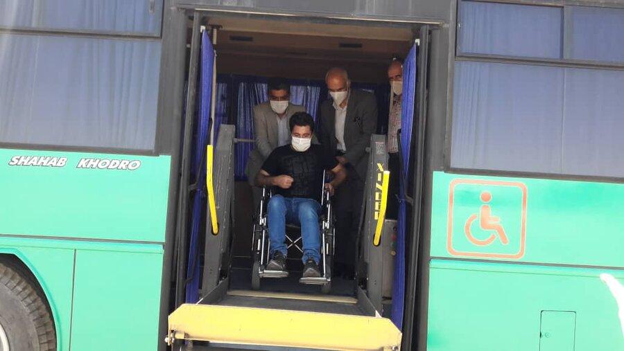 شاهرود | بهره برداری از اولین اتوبوس مناسب سازی شده ویژه معلولین