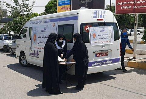 مانور خودروهای خدمات سیار اورژانس اجتماعی در شهرستانهای طارم ، خدابنده ، ابهر