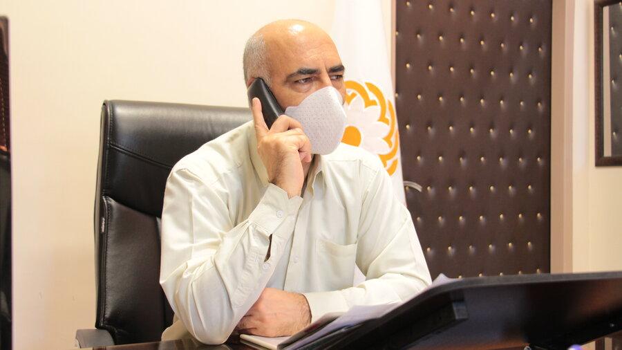 دیدار مددجویی و ارتباط تلفنی مدیرکل با توانخواهان تحت حمایت بمنظور رسیدگی به مشکلات مددجویی با حضور رئیس اداره پذیرش و هماهنگی