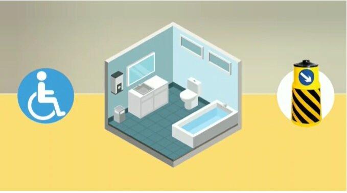 موشن گرافیک | استانداردهای مناسب سازی سرویس های بهداشتی در اماکن عمومی