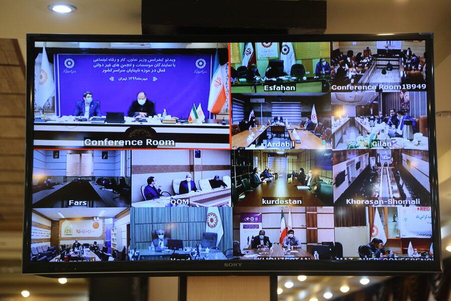 ویدیو کنفرانس وزیر تعاون با نمایندگان موسسات و انجمن های غیر دولتی فعال در حوزه نابینایان کشور